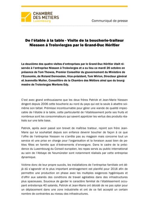 Communiqué De l'étable à la table - Visite de la boucherie-traiteur Niessen 2015
