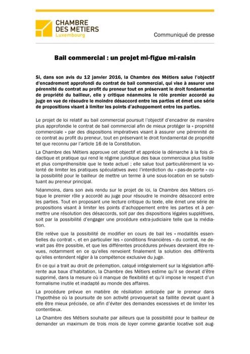 Communiqué Bail commercial  un projet mi-figue mi-raisin