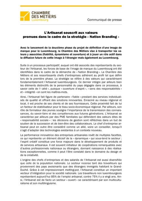 Communiqué L'Artisanat souscrit aux valeurs promues dans le cadre de la stratégie Nation Branding 04
