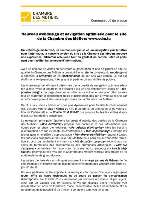Communiqué Nouveau webdesign et navigation optimisée pour le site de la Chambre des Métiers www.cdm.lu