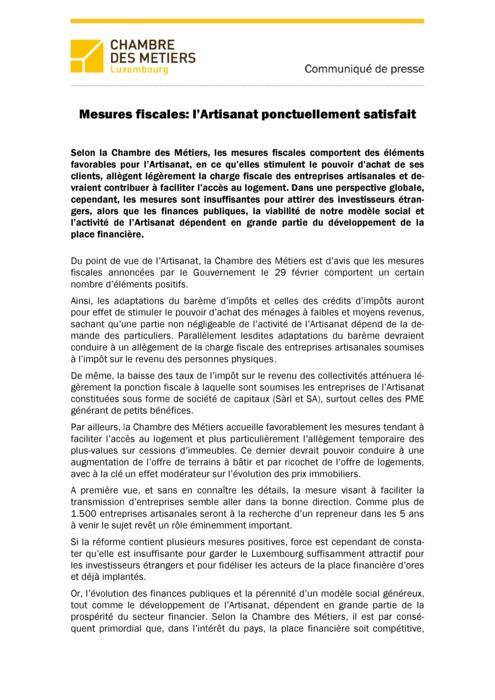 Communiqué Mesures fiscales: l'Artisanat ponctuellement satisfait