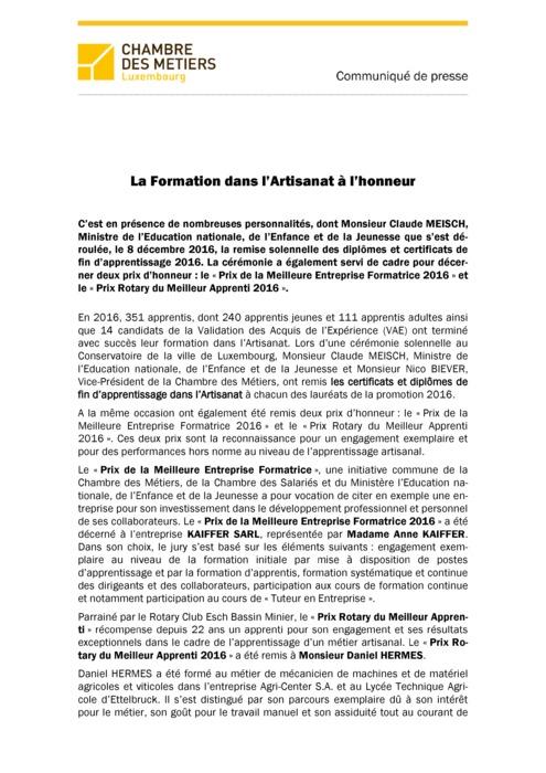 COMMUNIQUE DE PRESSE Remise Diplomes DAP CCP BAT
