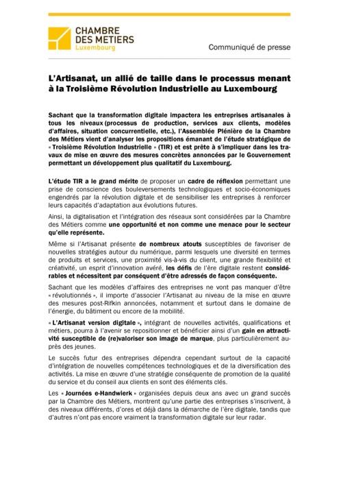 Communiqué de presse - L'Artisanat un allié de taille dans le processus menant à la Troisième Révolution Industrielle au Luxembourg
