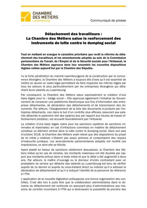 Détachement des travailleurs: La Chambre des Métiers salue le renforcement des instruments de lutte contre le dumping social