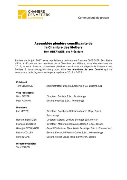 Communiqué - Assemblée plénière constituante de la Chambre des Métiers - 14 juin 2017