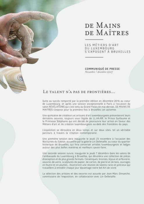 Communiqué: De Mains de Maitres à Bruxelles