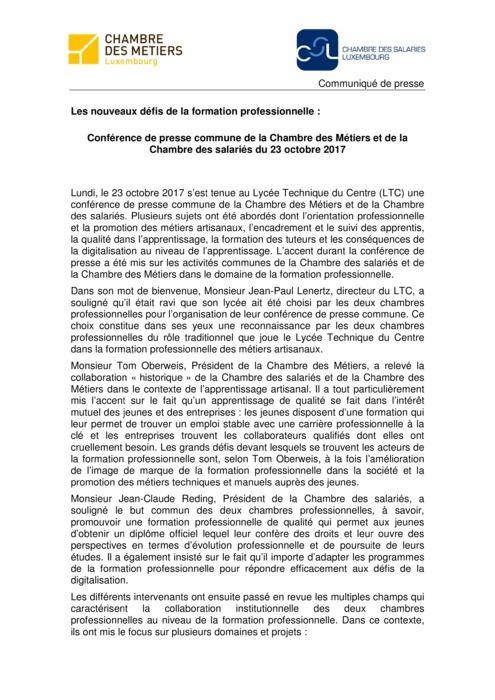 Communiqué CdM-CSL: Les nouveaux défis de la formation professionnelle