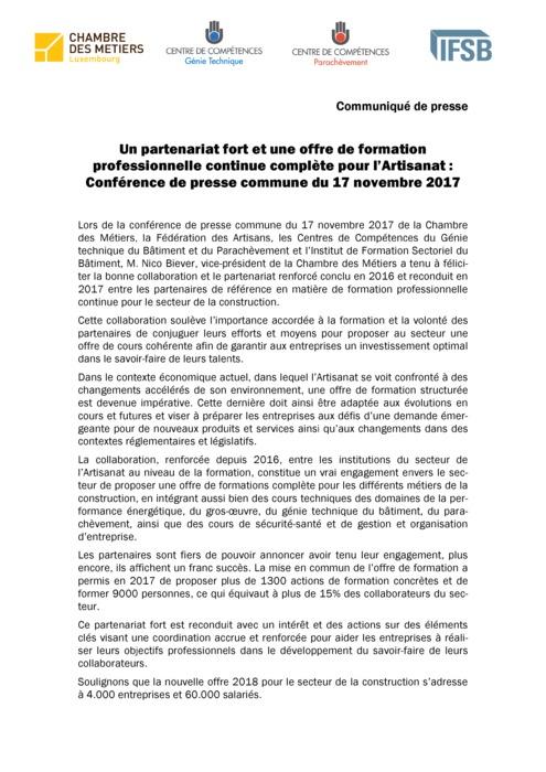 Communiqué: Formation continue 2018