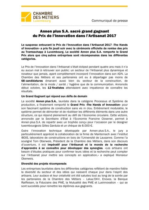 PIA 2017 - Communiqué: Annen plus S.A. sacré grand gagnant