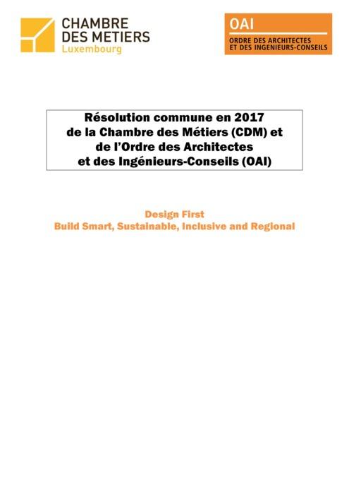 Résolution commune en 2017 de la Chambre des Métiers et de l'Ordre des Architectes et des Ingénieurs-Conseils