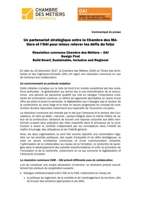 Communiqué: Partenariat stratégique entre la Chambre des Métiers et l'OAI pour mieux relever les défis du futur