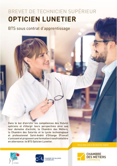 BTS Opticien Lunetier sous contrat d'apprentissage