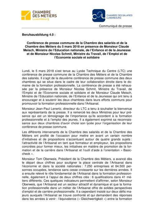 Communiqué CdM-CSL - Berufsausbildung 4.0
