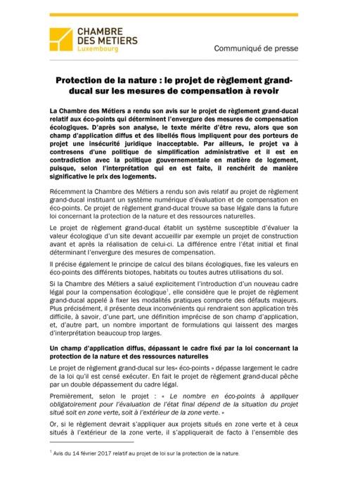 Communiqué de presse PRGD Eco-points