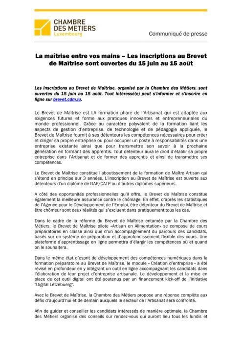 Communiqué  Inscriptions au Brevet de Maîtrise 20180614 final