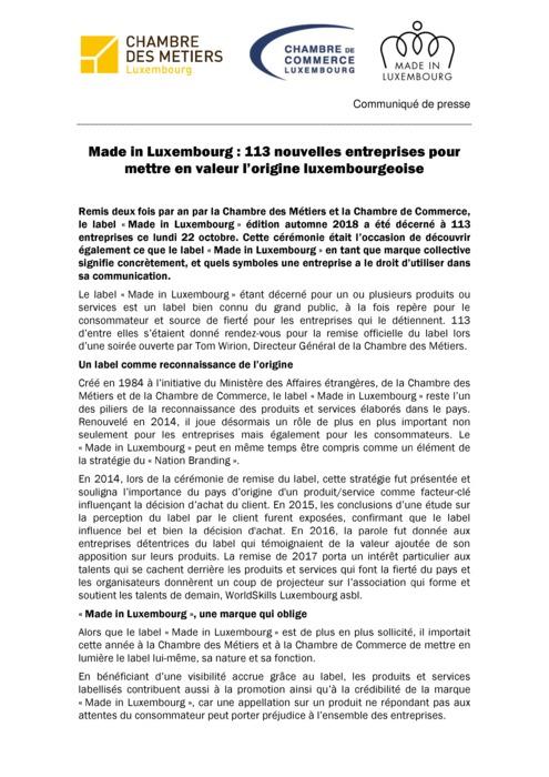Communiqué de presse Made in Luxembourg Remise Hiver 2018