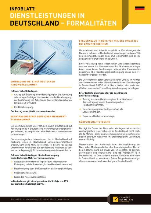 Dienstleistungen in Deutschland - Formalitäten