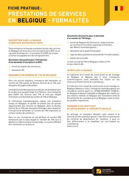 Prestations de services en Belgique - Formalités