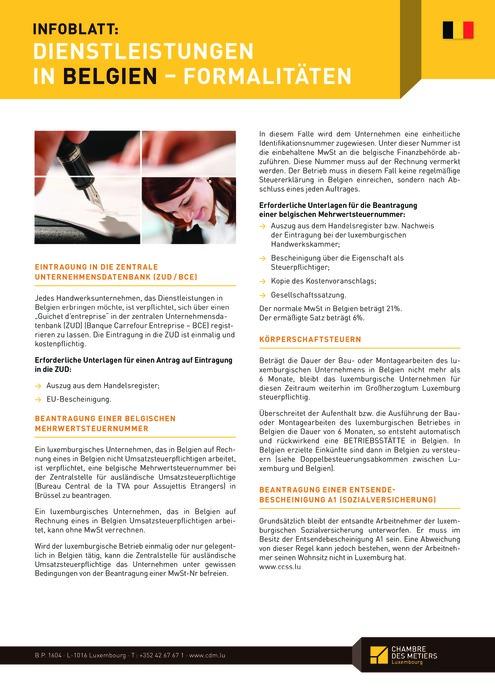 Dienstleistungen in Belgien - Formalitäten