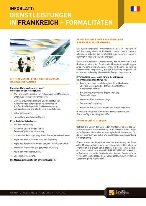 Infoblatt: Dienstleistungen in Frankreich - Formalitäten