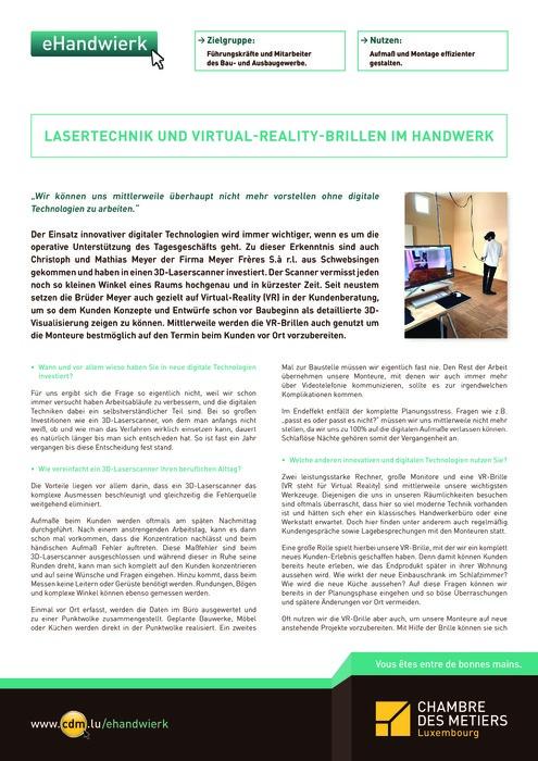 Lasertechnik und Virtual-Reality-Brillen im Handwerk