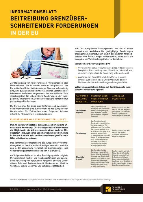 EU: Beitreibung grenzüberschreitender Forderungen