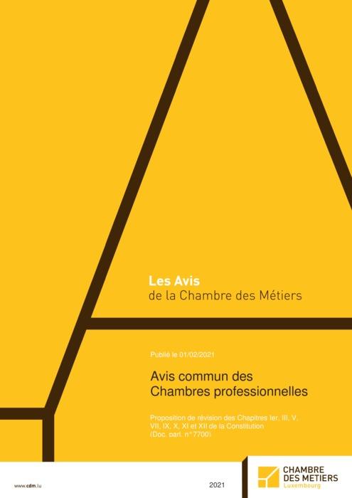 Avis commun des Chambres professionnelles - Proposition de révision des Chapitres Ier, III, V, VII, IX, X, XI et XII de la Constitution (Doc. parl. n°7700)