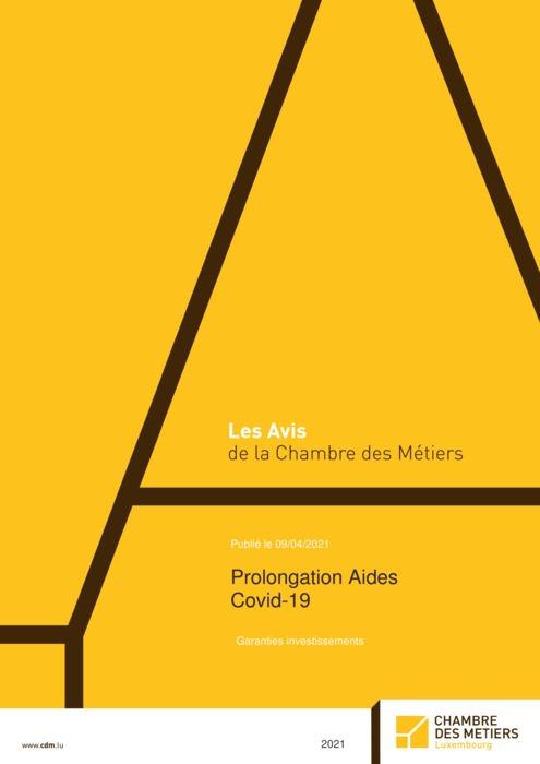 Prolongation Aides Covid-19 – garanties investissements