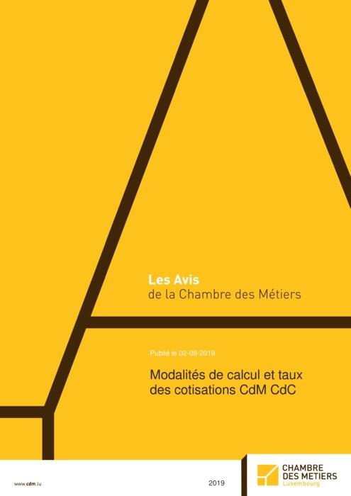 Modalités de calcul et taux des cotisations CdM CdC