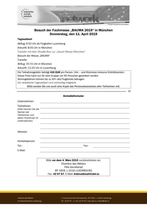 Anmeldeformular BAUMA 2019
