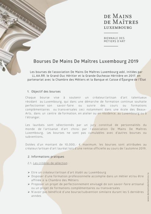 Appel à candidatures - Bourse De Mains De Maîtres 2019