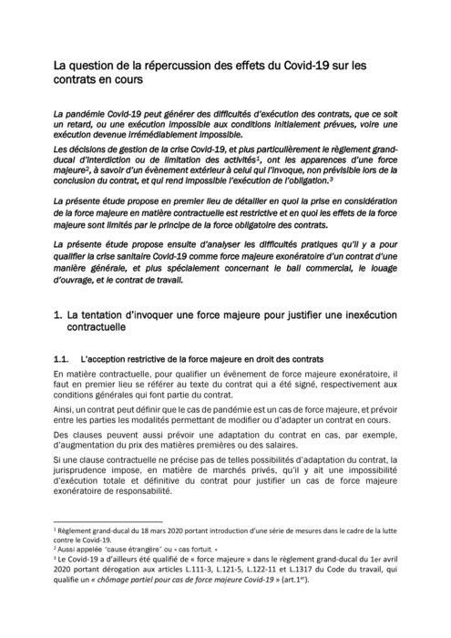 La question de la répercussion des effets du Covid-19 sur les contrats en cours
