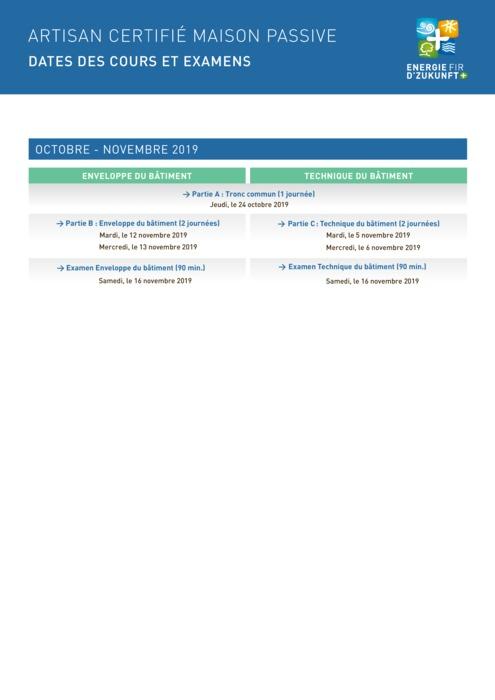 Artisan certifié maison passive : Dates des cours octobre - novembre et fiche d'inscription 2019