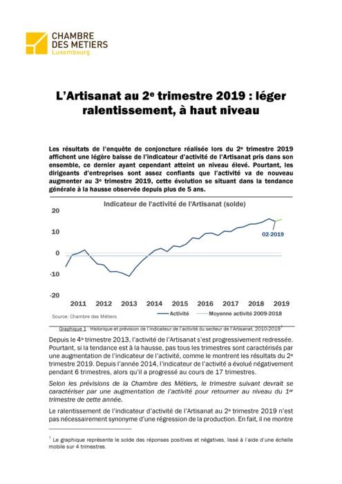 Artisanat - situation conjoncturelle au 2e trimestre 2019