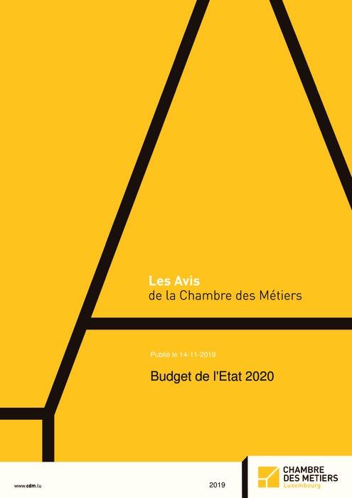 Budget de l'Etat 2020