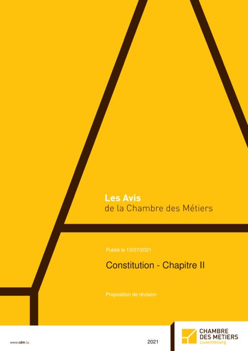 Constitution – chapitre II – Proposition de révision