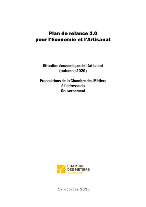 Plan de relance 2.0 pour l'Economie et l'Artisanat