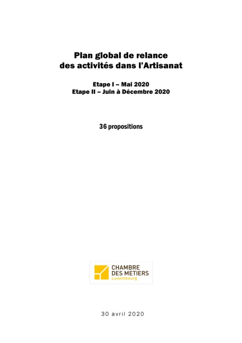 Plan global de relance des activités dans l'Artisanat