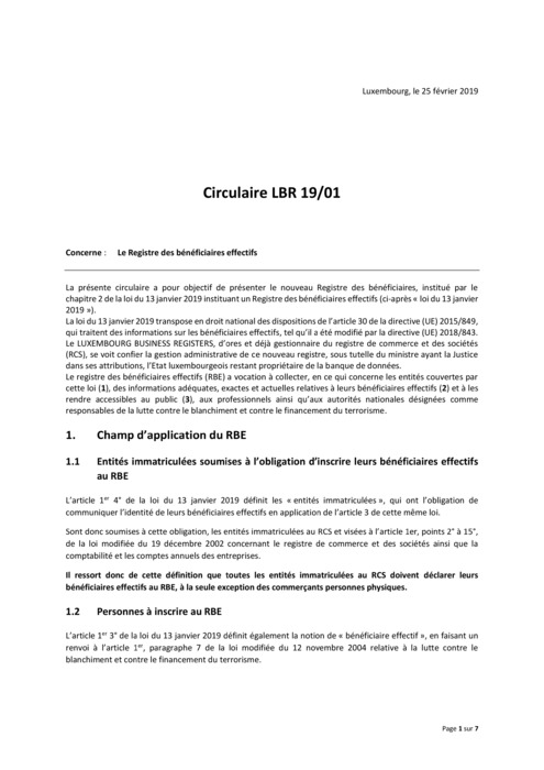 Circulaire LBR 19_01