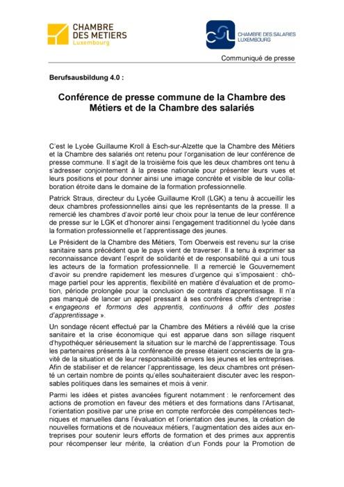 Communiqué de presse : Berufsausbildung 4.0