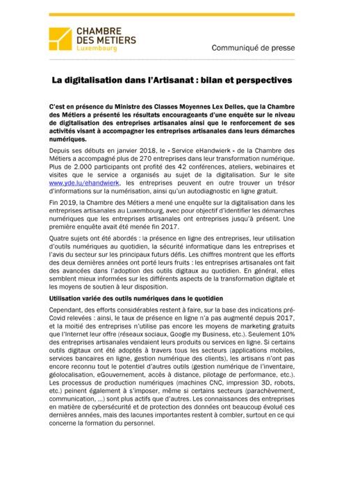 Communiqué de presse : La digitalisation dans l'Artisanat : bilan et perspectives