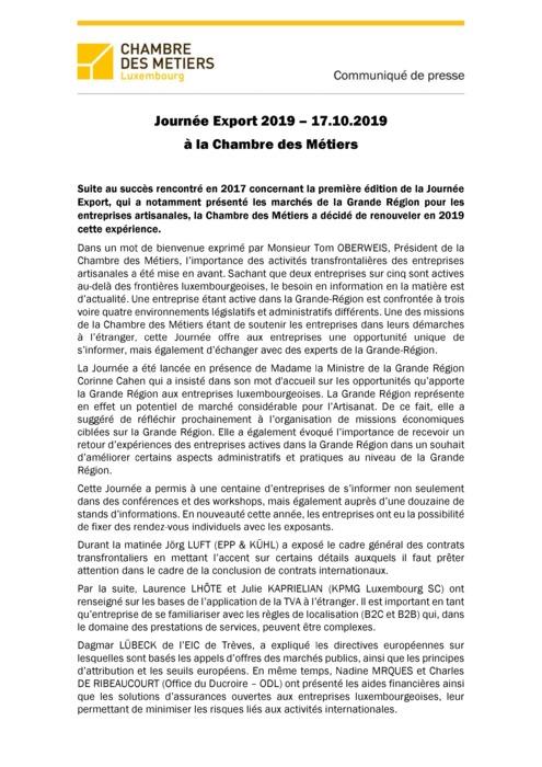 Communiqué de presse Journée Export du 17.10.2019