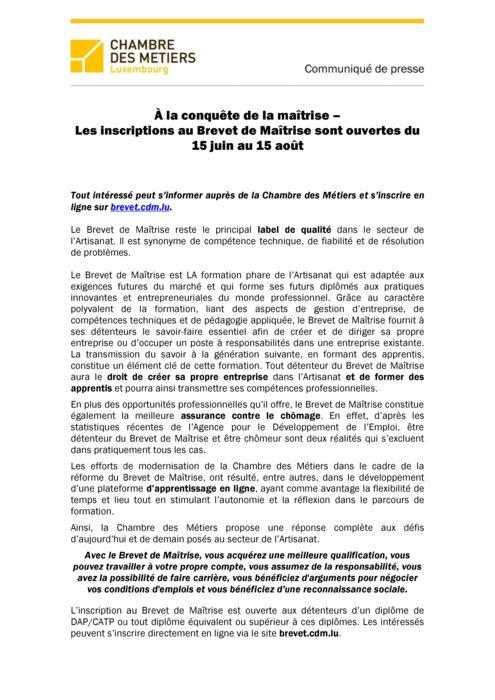 Communiqué de presse: À la conquête de la maîtrise – Les inscriptions au Brevet de Maîtrise sont ouvertes du 15 juin au 15 août 2019