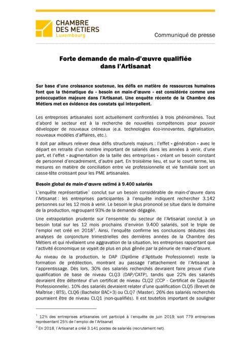 Communiqué de presse | Forte demande de main-d'œuvre qualifiée dans l'Artisanat