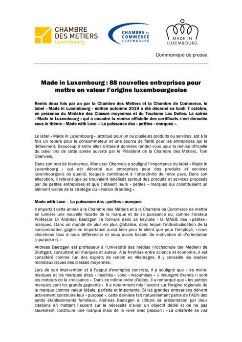 Communiqué de presse: Remise des certificats du label « Made in Luxembourg »