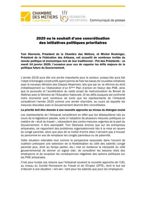 Communiqué de presse: Pot des Présidents 2020