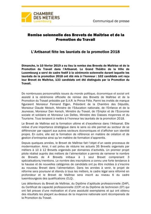 Communiqué de presse - Remise du Brevet de Maîtrise et de la Promotion du Travail du 13 février 2019