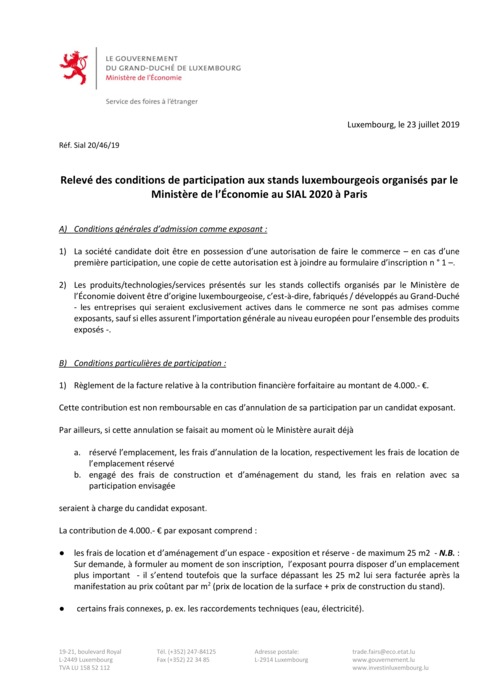 Conditions de participation SIAL 2020