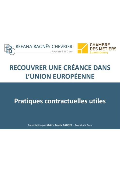 Les pratiques contractuelles utiles (Me Amélie BAGNES, Cabinet d'Avocats BEFANA BAGNES CHEVRIER)
