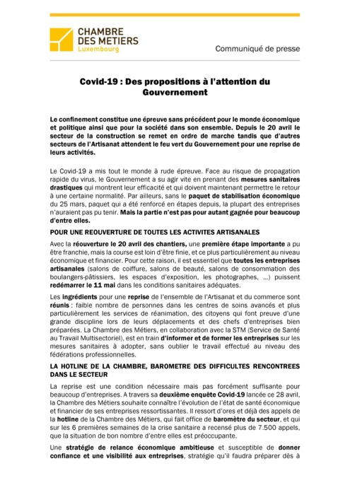 Communiqué de presse : Covid-19 : Des propositions à l'attention du Gouvernement